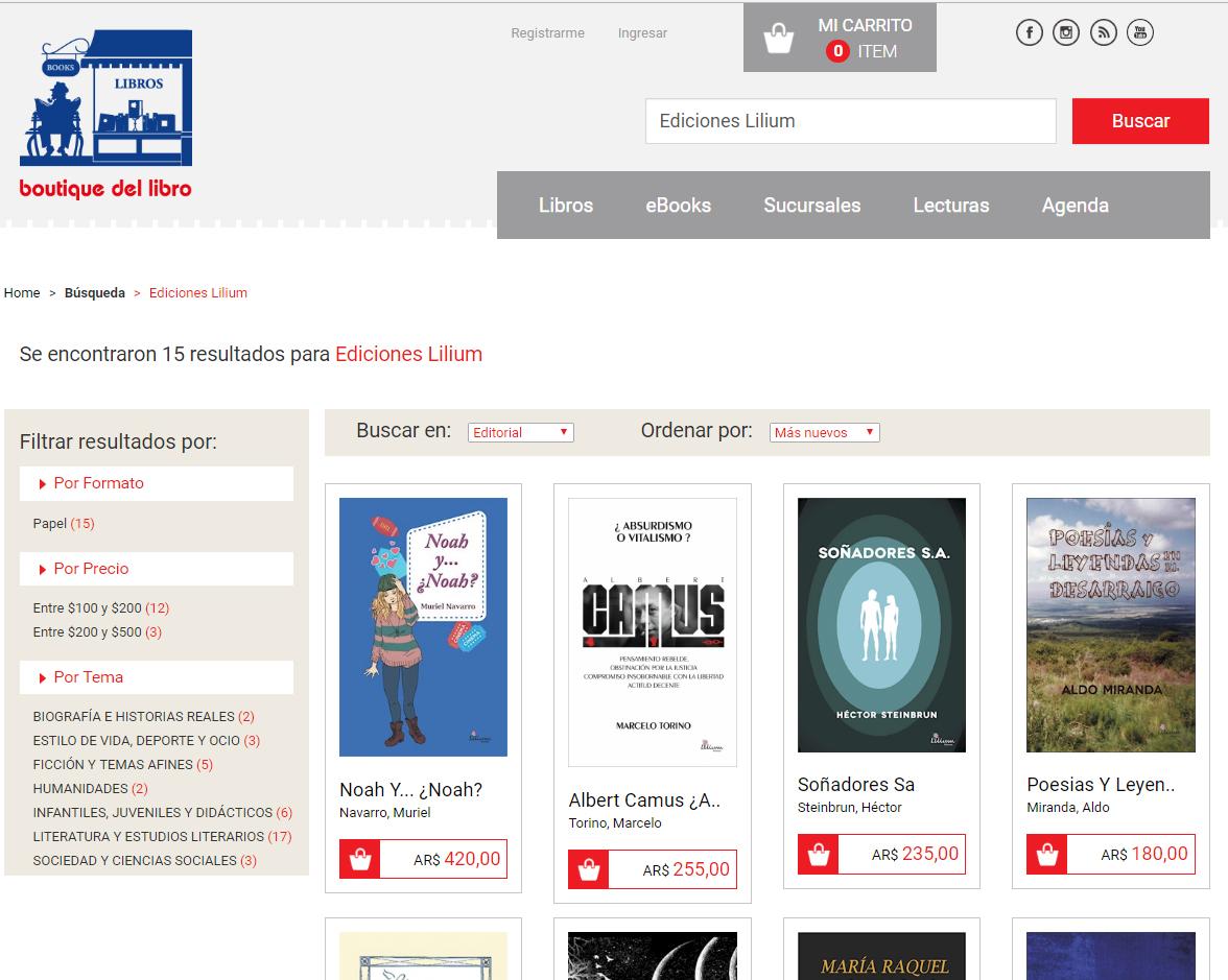Ediciones Lilium en Boutique del libro