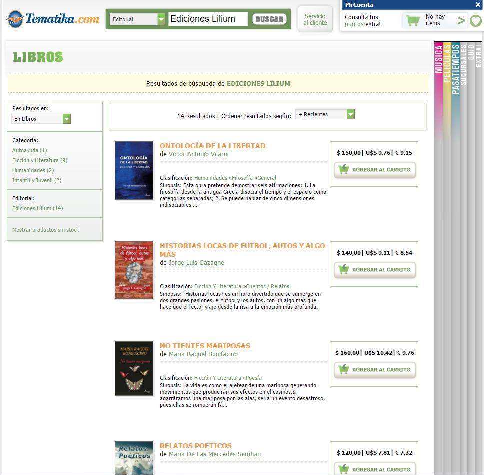 Ediciones Lilium en Tematika.com